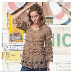 Sundance Crochet Knit Sweater Tunic Size Small